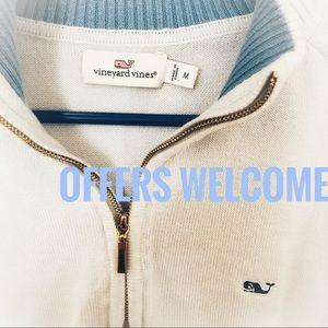VINEYARD VINES light blue 1/4 zip shep pullover M